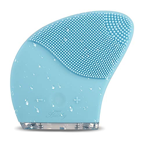 Hairby Facial Cleansing Brush USB Rechargeable, Sonic Silicone Face Scrubbers IP66 Waterproof, Electric Face Cleanser and Massager Brush for All Skin Types, Blue