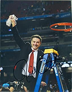 Autograph 212399 Louisville Cardinals Basketball Coach Image No. Sc5 Blk National Champions Rick Pitino Autographed 8 x 10 in. Photo