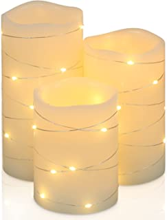 Flickering Flameless Candles Ivory Real Wax Pillar with Embedded String Lights H-BLOSSOM LED Candles Battery Operated with...