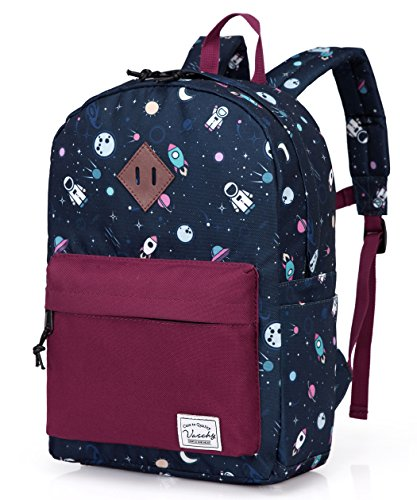 Preschool Toddler BackpackVaschy Little Kid Small Backpacks for Nursery School Children Boys and Girls with Chest Strap in Cute Astronaut