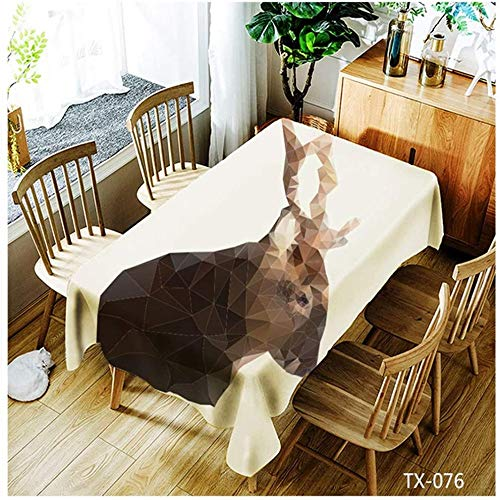 WSJIABIN Tablecloth Simple Personality Polyester Fabric Digital Printing Waterproof Dustproof Rectangular Reusable Tablecloth 150 x 260 cm