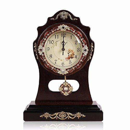 CNBBGJ Bureau d'étude, de l'horloge en bois de style européen muet de salon, Réveil Réveil en bois, de montres et d'horloges,B