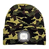 Beanie Hat With Light - Warm Knit Cap for Winter Safety - LED 3 Brightness Settings - Unisex Fits Most Men, Women and Kids Headlamp for Outdoor Dog Walking, Running, Hiking, Woods (Camouflage)