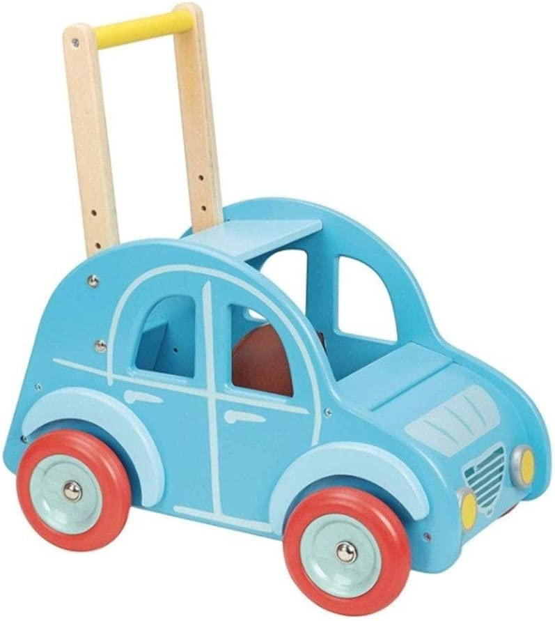 Max 82% OFF HOMESROP Wooden Blue Car Trolley Easy to lowest price Rubber Grip and Handle