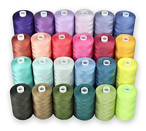 Sewing Thread - Polyester Threads for Hand Stitching, Quilting and Sewing Machine - Set of 24 spools in Assorted Light Colors - 1000 Yards Per Spool