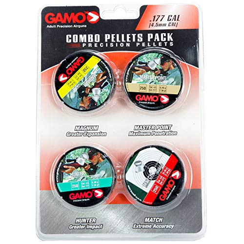 Gamo 632092954 Air Rifle Pellets Combo Pack.177 Caliber, Quantity 1000 (Magnum, Masterpoint, Hunter, Match)