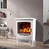 Lincsfire 1850W Freestanding Electric Fireplace Indoor Heater Log Burning Flame Effect Fire Place Stove - White