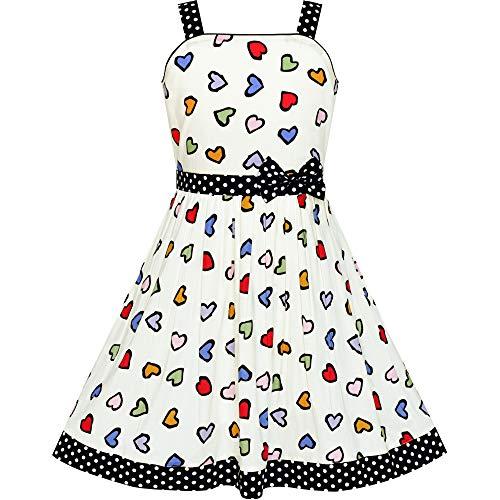 Vestido para niña Vistoso Corazón Negro Dot Corbata de moño Verano Sol 7-8 años