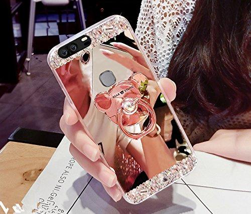 Funda para Huawei Honor V8, carcasa para Huawei Honor V8, ikasus Bling, diamantes de imitación con purpurina de goma, carcasa para espejo de maquillaje con soporte para osito Kickstand suave T