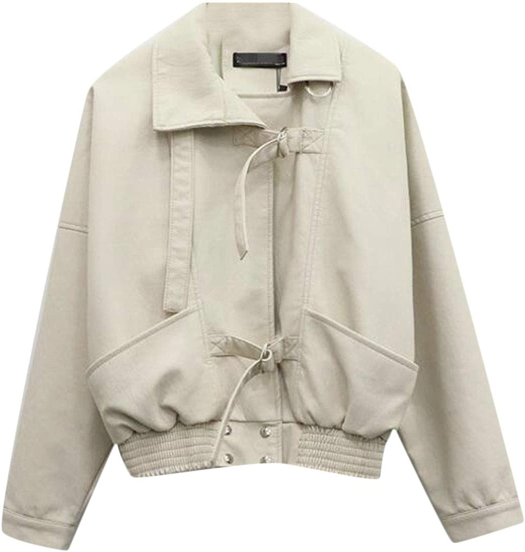 Etecredpow Women Casual Loose Faux Leather PU Moto Outwear Jackets Coats