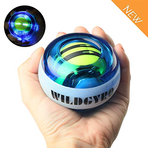 DOTSOG Wrist Trainer Exercises Power Ball Wrist&Forearm Strengthener Essential Push-Start Spinner Gyro Ball with LED Lights,No Start Pull String (Without Digital LCD Counter)