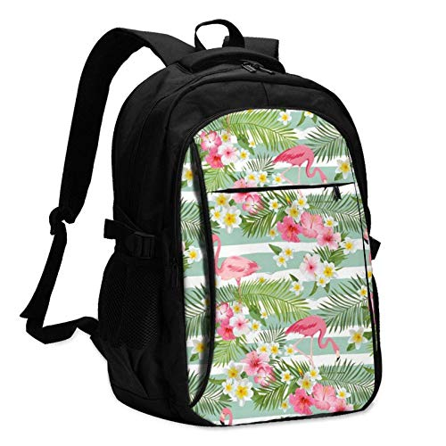XCNGG Lovely Pink Flamingo Unisex Travel Laptop Backpack with USB Charging Port School Anti-Theft Bag