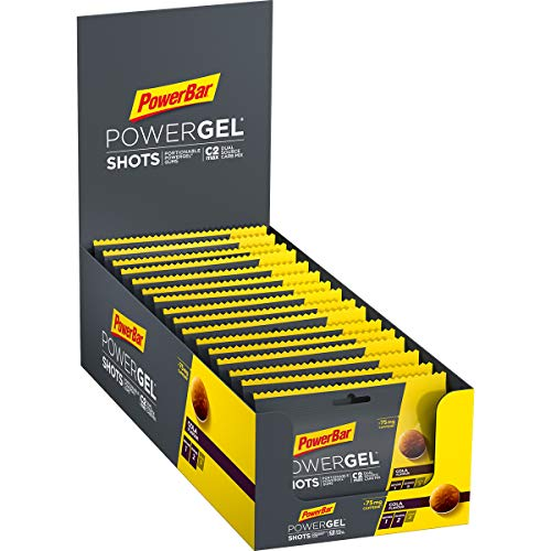 PowerBar PowerGel Shots Cola 16x60g - High Carb Energie Gummis + C2MAX + Natrium + 75mg Koffein