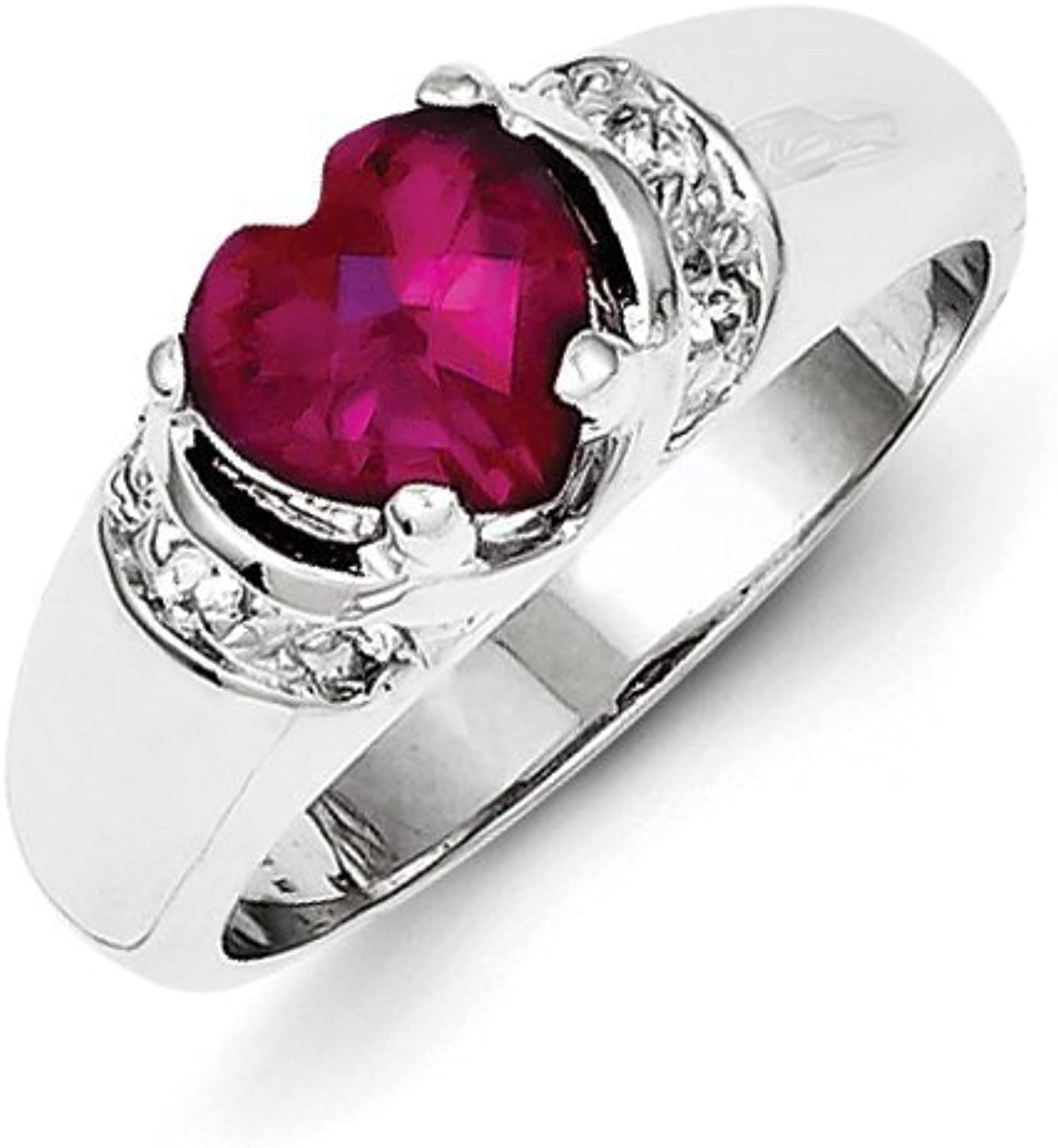gold and Watches Sterling Silver Red CZ Heart Ring