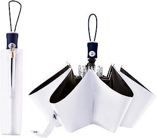 FDJASGY UV Sun Umbrella Compact Folding Travel Umbrella Auto Open Close Compact Folding Rain Umbrellas for Women Men Blocking UV 99.98% White