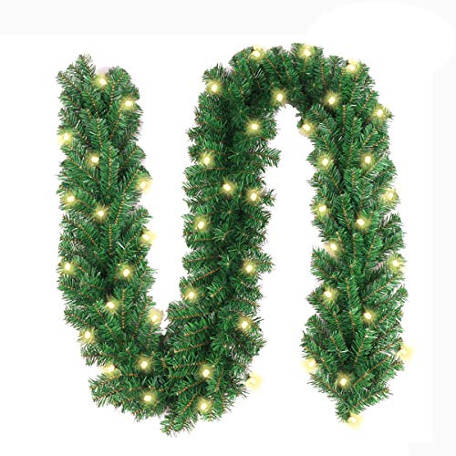 10Ft Christmas Garland with 50 LED Lights - Battery Powered Waterproof String Light with Timer - Pre-lit Outdoor Xmas Garland - 10 Foot by 10 Inch