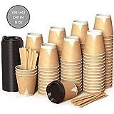 100 Kraft Vasos Desechables 240 ml de Doble Pared de Café para Llevar - Vasos Carton con Tapas y Agitadores de Madera para Servir el Café, el...