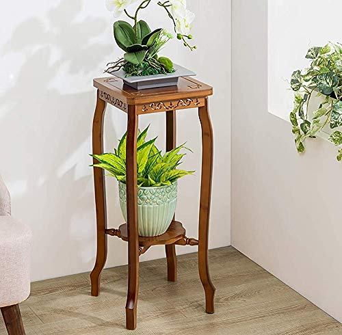 Flower 3 Layer Flower Display Stand, Indoor and Outdoor Wooden Brown Flower pots, Flower Stand,Brown-2 Layer 29x29x67cm