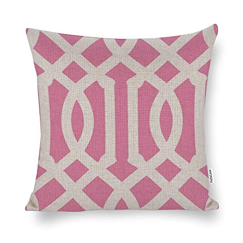 Pink And White Trellis Cotton Linen Blend Throw Pillow Covers Case Cushion Pillowcase with Hidden Zipper Closure for Sofa Bench Bed Home Decor 16'x16'