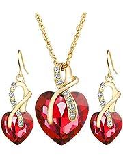 Luxury Heart shape Zircon Crystal Earrings and Necklace Jewelry Set