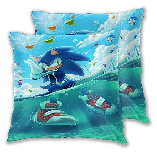 Juego de 2 fundas de almohada de Sonic The Hedgehog para sofá, cama, silla, decorativa, 45 x 45 cm