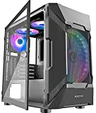 MUSETEX MESH Micro-ATX Tower 3 PCS 120MM ARGB Fans + 1x 200MM ARGB Fan Pre-Installed 2 PCS × USB 3.0 Ports Opening Tempered Glass Panel & Mesh Front Panel Airflow Gaming PC Case (MK7-GN4)
