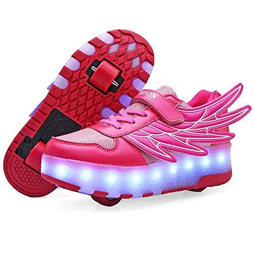 ASDF Kinder LED leuchten Turnschuhe Top Turnschuhe USB Aufladen Schnür Sportschuhe Atmungsaktive Laufschuhe für Jungen Mädchen,Pink,35