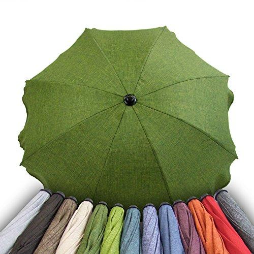 BAMBINIWELT parasol voor kinderwagen, diameter 68 cm, UV-beschermings50+ scherm, zonnezeil, zonbescherming, gemêleerd donkergroen gemêleerd