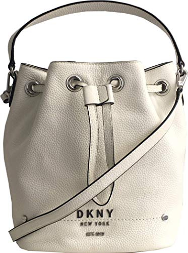 DKNY Bucket Leather Handbag with Removable Crossbody Strap in White