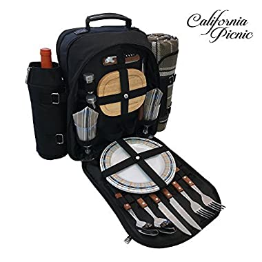 Picnic Backpack | Picnic Basket | Stylish All-in-One Portable Picnic Bag for 2 with Complete Wooden Cutlery Set, Stainless Steel S/P Shakers | Waterproof Fleece Picnic Blanket | Cooler Bag for Camping
