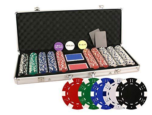 Da Vinci 500 Piece Executive 11.5 Gram Poker Chip Set with Case and Cards - Dice Striped