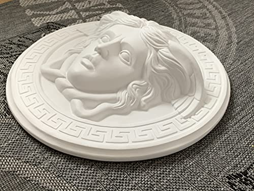 Wandbild Statue Medusa Kopf in weiß einmalig schön Mäander Muster Wandtattoo Tattoo 3D Relief