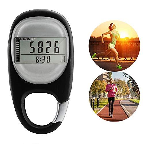 Hamkaw 3D-Schrittzähler Mit Clip, Portable Walking Step Counter Für Männer, Frauen, Kinder, Walking Kalorienzähler Und Trainingszeit (Schwarz)