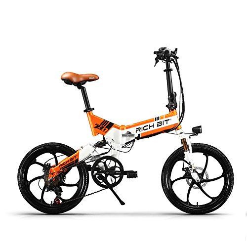 ENLEE Rich BIT ZDC RT-730 LCD-Klapp-E-Bike 20-Zoll-Elektrofahrrad 48V 8ah versteckte Batterie 【steuerfrei】 (White-Orange)