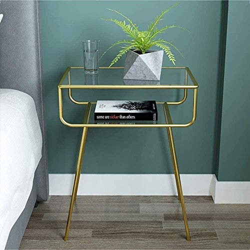 H-CAR Metal Bedside Table With Modern Upper Mirror Bedside Accent Bedside Small Table Storage Cabinet For Living Bruno 49x33x60cm (19x13x24in) (Color : Gold, Size : 49x33x60cm)