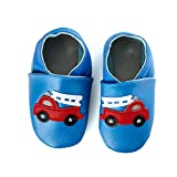 smileBaby Premium Leder Lauflernschuhe Krabbelschuhe Babyschuhe Blau Feuerwehrauto 0 bis 6 Monate