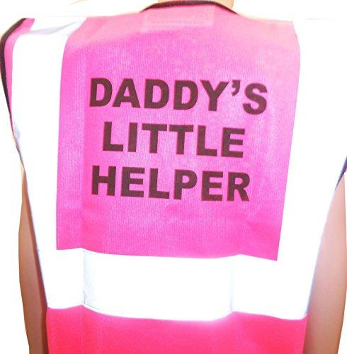 Kids Hi Vis, High Visibility Vest Gilet met papa 's kleine helper geschreven op de rug Standard roze