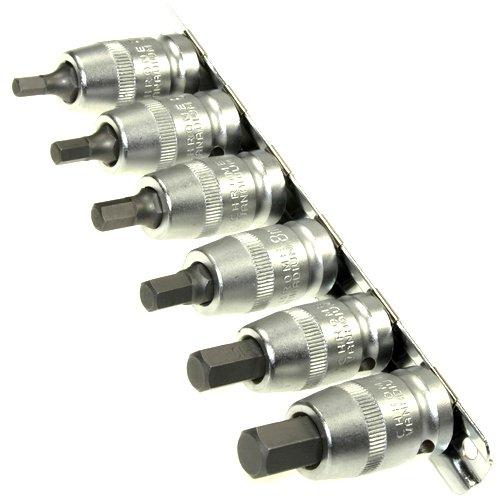 6 x Kraft Steckschlüsselsatz/Schraubendreher-Einsätze 5-12 mm Innensechskant Einsatz Stecknüsse/Steck-Nuss Schlüssel für Innen-6-kant Schrauben 1/2' Cr-V auf Steckleiste/Steckschiene