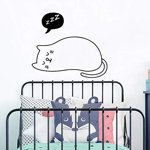 Cartoon Geometrische Hexe Katze Mond Wandaufkleber Kindergarten Kinderzimmer Haustier Katze Magie Hexerei Tier Wandtattoo Schlafzimmer Vinyl ~ 1 56 * 49 cm