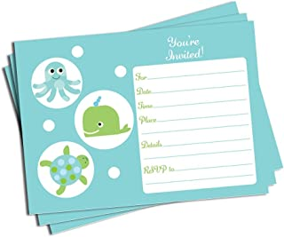 50 Under the Sea Invitations and Envelopes (Large Size 5x7) - Baby Shower - Birthday Party - Any Occasion