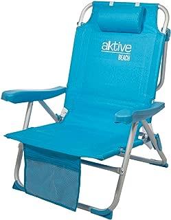 Aktive 53983 Silla mochila plegable aluminio para la playa.
