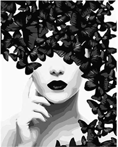 XINTONG Puzzle da 1000 Pezzi per Puzzle da assemblaggio in Legno Illustrazione di Farfalla e Donna in Arte Moderna in Bianco e Nero