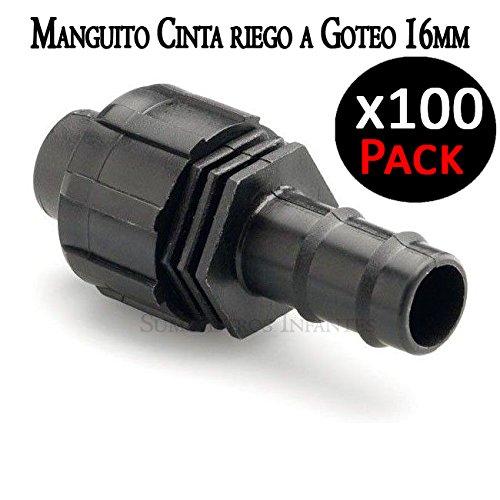 Suinga Union Ruban d'irrigation par goutte 16 mm A en de goutte 16 mm manchon pour connecter deux types de tuyaux d'irrigation. Pack 100 unités.