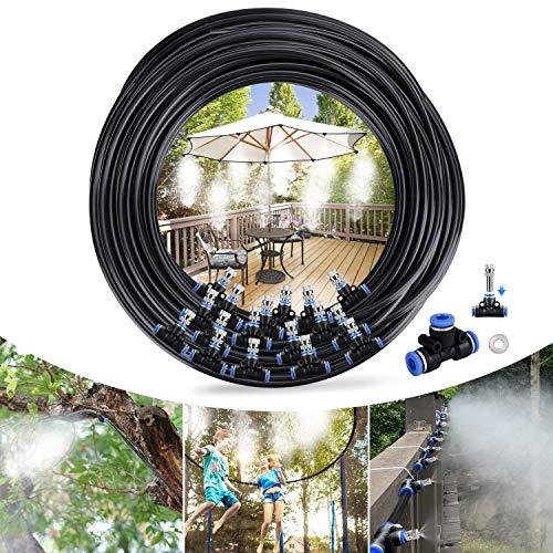 Tencoz Bewässerungssystem Sprühnebel Kühlung Misting Cooling System 20 Meter Schlauch und 24 Metalldüsen Verstellbarem Schlauch Wasserzerstäuber für Garten, Gewächshaus, Terrasse, Pflanzen
