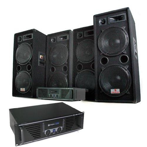Elektronik Star Phuket Pulsar Pro - DJ PA Komplettset, 4 x auna PW-2222 Boxen + 2 x Skytec PA-1000 Verstärker, schwarz