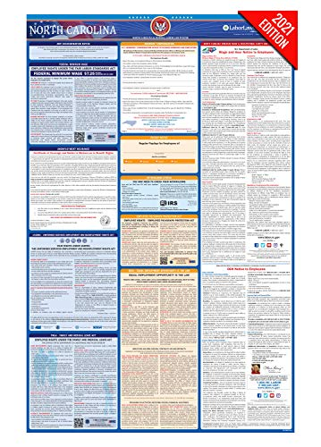 NC Labor Law Poster, 2021 Edition - State, Federal and OSHA Compliant Laminated Poster (North Carolina, English)