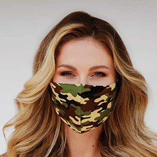 Washable Face Mask - 3 Layers, 100% Cotton Inner Layer - Cloth Reusable Face Protection with Filter Pocket - Made in USA -Suitable for Both Indoor & Outdoor (Green Khaki Camo)