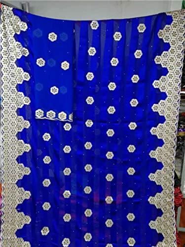 PENVEAT Afrikanische Nigerian Spitzegewebe 2019 hochwertige echte Seidenstoff mit Steinen Band Seidenorganza Gewebe für Kleid 7yards, YC12073S3