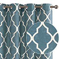 """Linen Curtains for Bedroom Geometric Curtain Textured Drapes Lattice Moroccan Tile Print Drapery light filtering Style for Living Room Dining Room Grommet Window Treatment 50"""" x 95"""" inch Blue 2 Panels"""