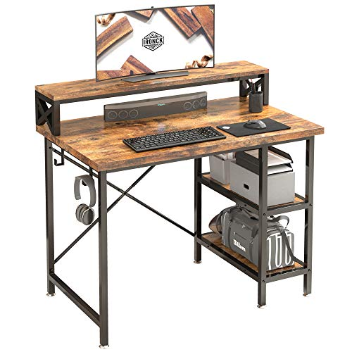 IRONCK Computer Desk with Monitor Shelf, 39' Small Home Office Desk Desk with Storage Shelf and Hook, Industrial Study Writing Table for Home Office, Metal Frame Rustic Brown